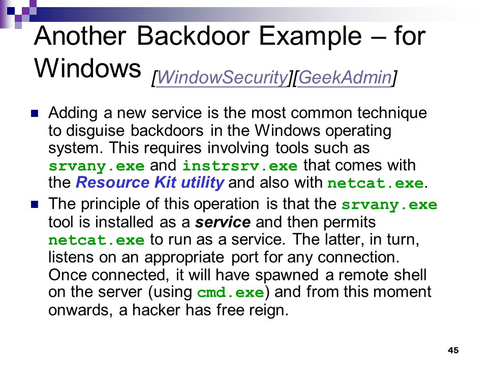 Another Backdoor Example – for Windows [WindowSecurity][GeekAdmin]
